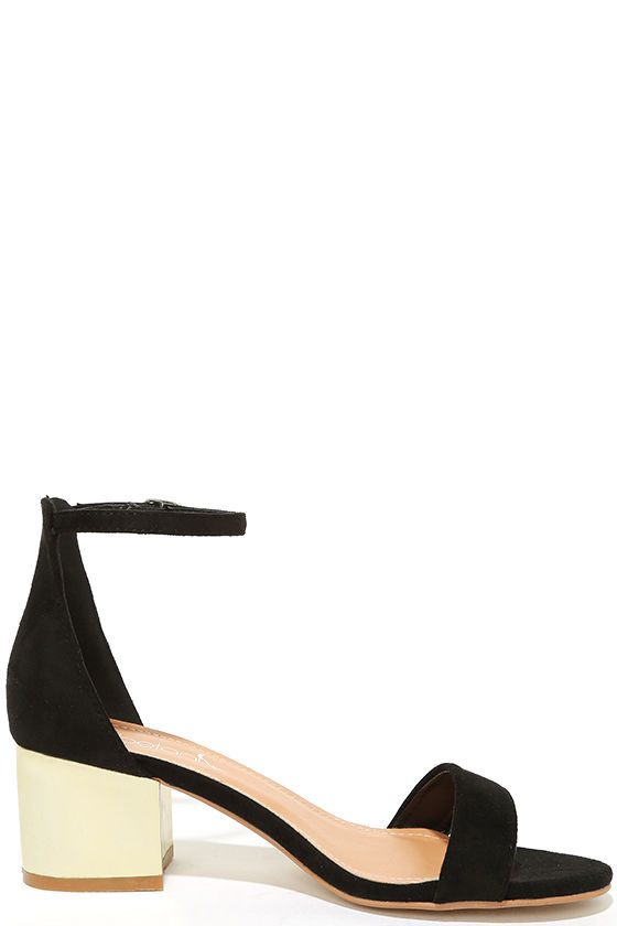 35b684dd3 Make your presence known in the Reunion Black and Gold Ankle Strap Heels!  These cute