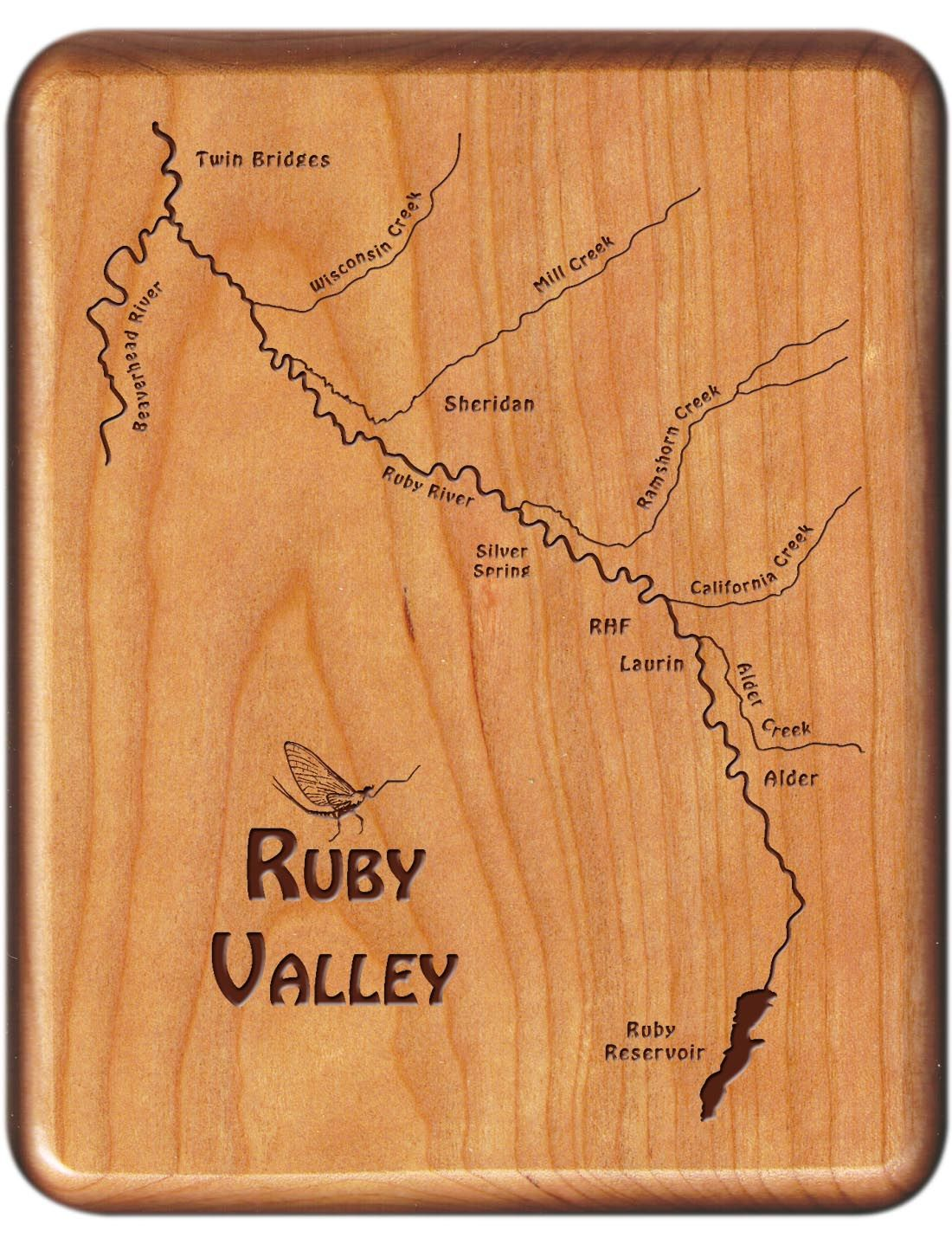 Ruby Valley River Map Fly Box Montana Cherry Wood Montana