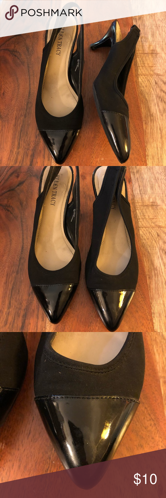 Ellen Tracy 2 Tone Black Sling Back Heels Sz 6 Shoes Women Heels Heels Kitten Heels