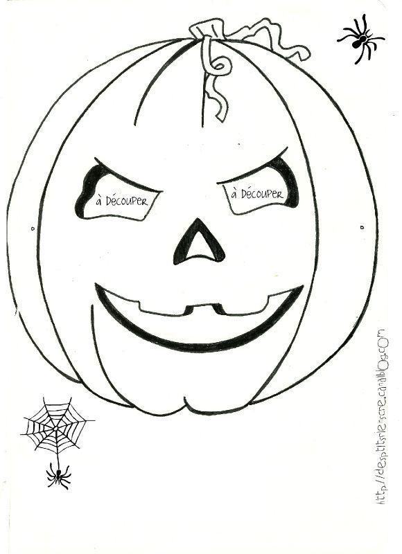 Masque citrouille masques imprimer pinterest - Coloriage masque halloween imprimer ...