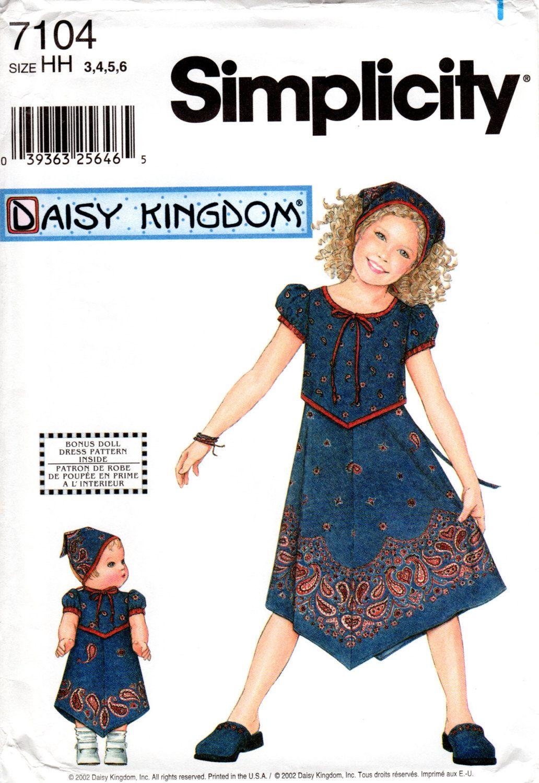 Daisy Kingdom Girls\' Handkerchief Hem Dress with Head Scarf - Sewing ...