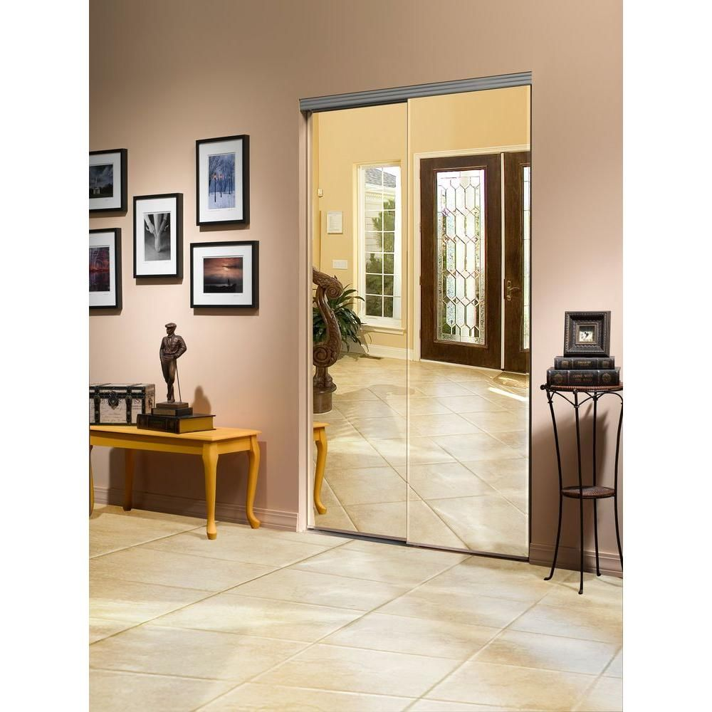Impact plus 72 in x 80 in beveled edge backed mirror