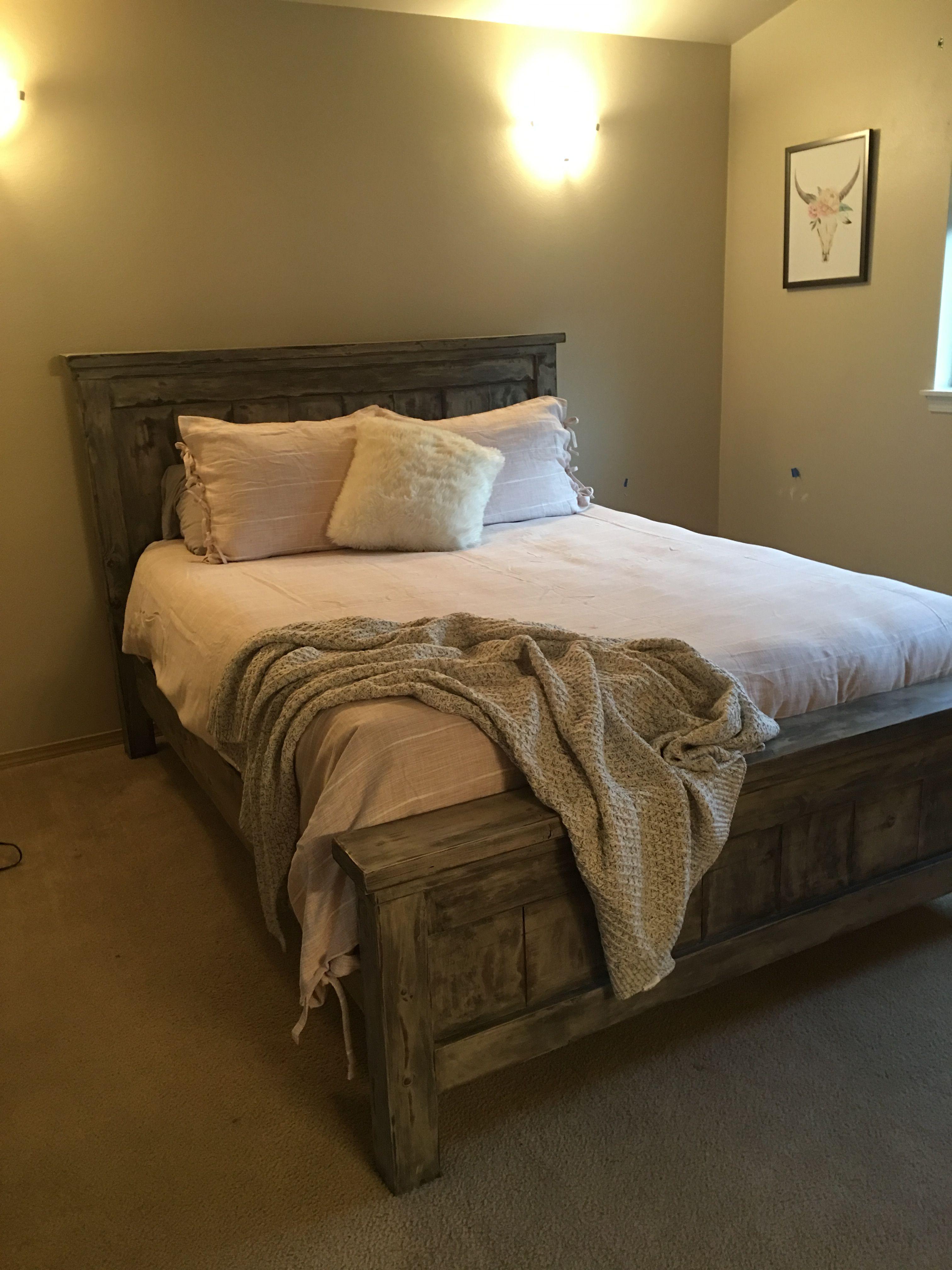 DIY Farmhouse Bed   Queen Version   Bed, Bed plans, Rustic ...