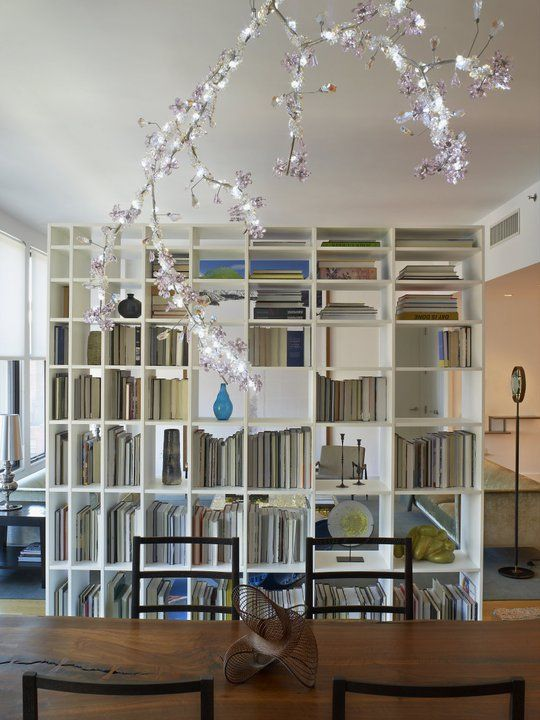 Andy Goldsborough Interior Design Soho Residence / Shiro Kuramata bookcase  and Tord Boontje chandelier