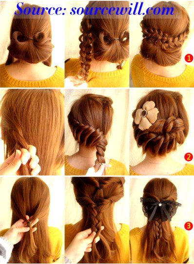 Long dress hairstyles braids