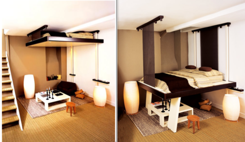 Compact Living Bed Solution. | Ceiling bed, Home, Loft bed