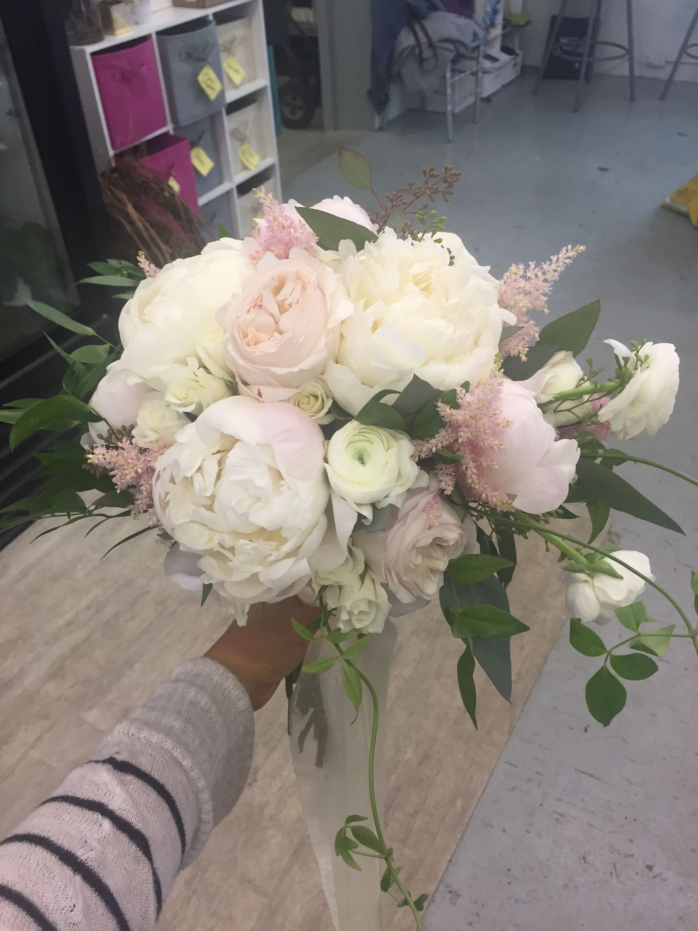 I Love The Flowers Peonies Roses Ranunculus And Astilbe And The Shades Of Pink And Ivory I Peony Bouquet Wedding Wedding Flowers Peonies Wedding Bouquets