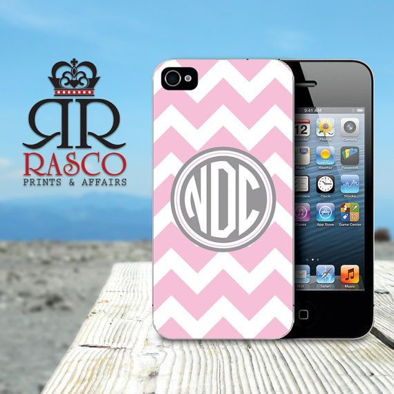 Pink and Gray Chevron Monogram iPhone Case iPhone by RascoPrints, $14.99