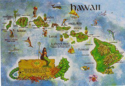 Postcard Hawaiian Islands Map Map Of Hawaii Hawaii