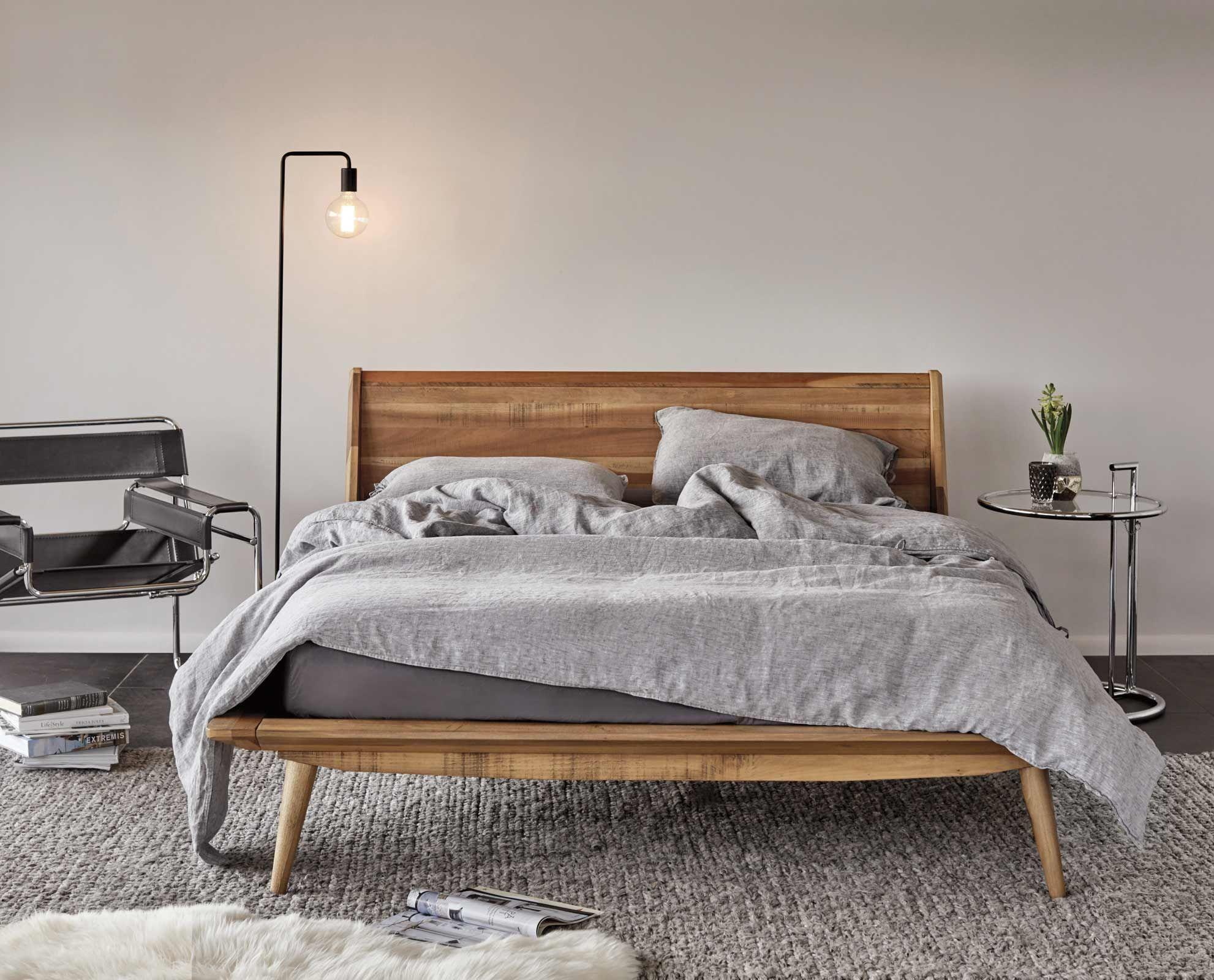 Dania The Nordic Inspired Bolig Bed Is Crafted From Solid Poplar And Features A Warm Stai Scandinavian Design Bedroom Modern Apartment Decor Bedroom Interior