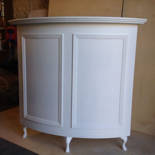 Curved Salon Reception Desk French Style Shabby Chic Painted Satin