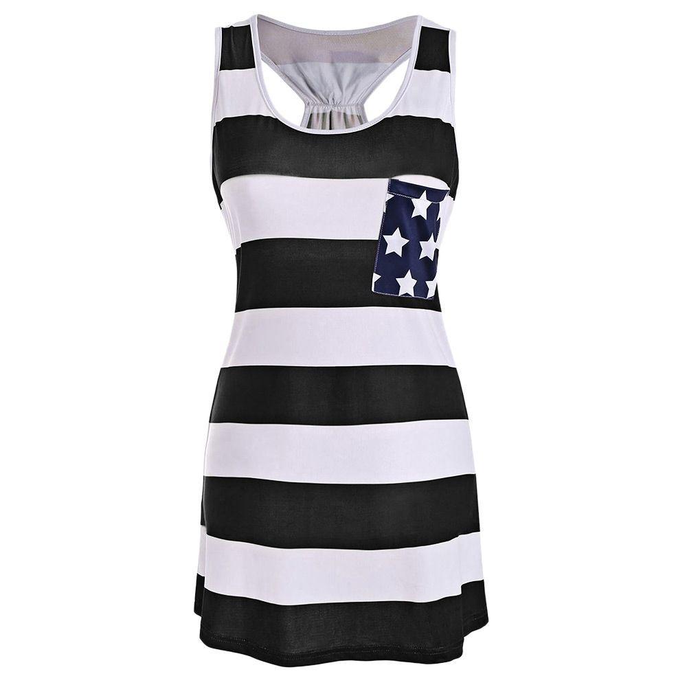 Stars And Stripes Us Flag Racerback Tank Dress Casual