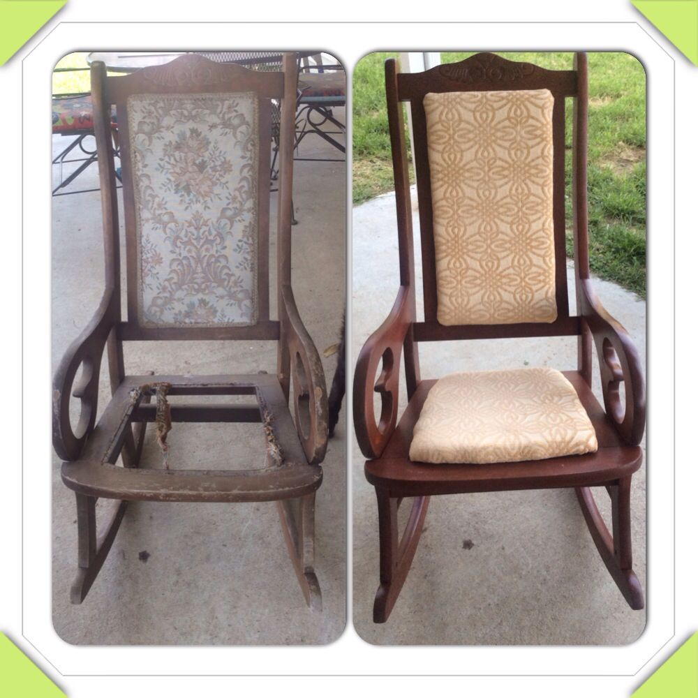 Before and after rocking chair from side of the road (put out for trash by grandmother's neighbor). Had to take it completely apart and rebuild, a lot more work than first anticipated. DIY