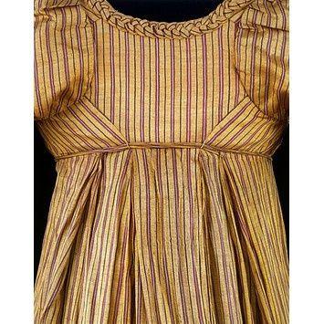 dress trim 1805 | Dress [back view]. Britain, ca. 1805. Silk. Has braided fabric trim at ...
