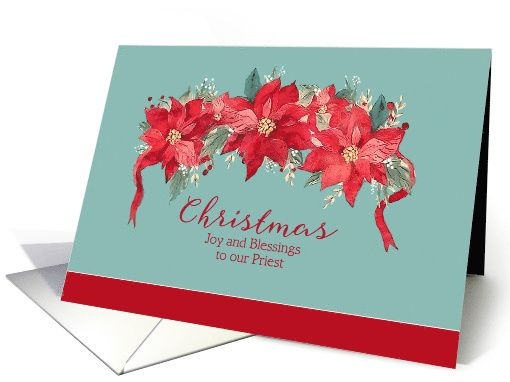 joy and blessings to our priest christian christmas card. Black Bedroom Furniture Sets. Home Design Ideas