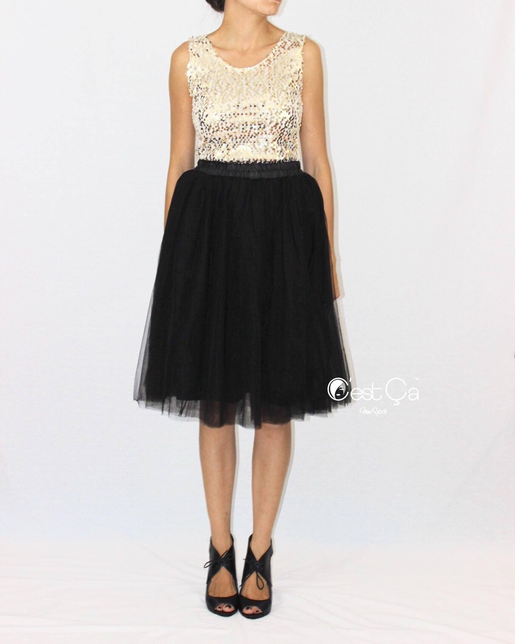 Claire Black Soft Tulle Skirt - Midi | >¤<Mod@ & €stilo >¤<