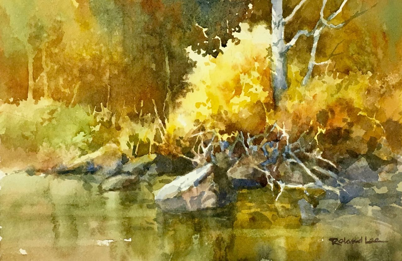 How To Paint Water Peaceful River Roland Lee Watercolor Landscape Paintings Landscape Sketch Art Painting