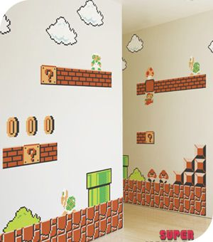 stickers super mario bros 30 stickers muraux g ants. Black Bedroom Furniture Sets. Home Design Ideas