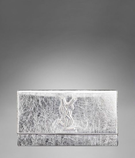 Check out Large YSL Clutch in Silver & Gold Metallic Leather at http://www.ysl.com/en_US/product/804617720