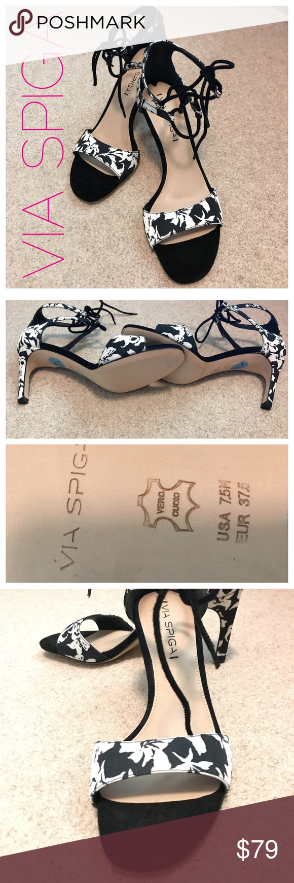 """VIA SPIGA Ankle-tie Heels Pretty black and white floral canvas strap Oy sandals with suede accents and tie straps. Leather bottoms. NWOT. 2"""" heels. Pristine. Via Spiga Shoes Sandals"""