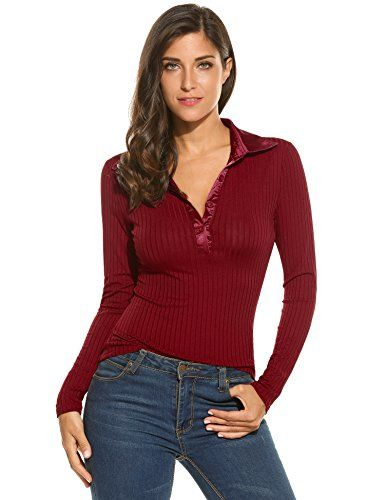 c169001a6021b9 Meaneor Womens V Neck Long Sleeve Stretch Slim Fit Polo Shirt Blouse Wine  Red 2XL -- You can find more details by visiting the image link.
