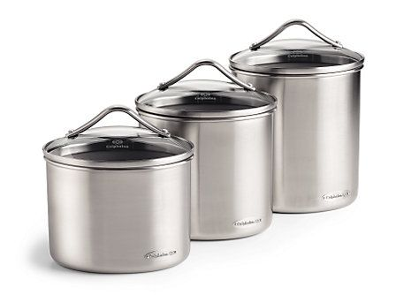 Calphalon 3 Pc Stainless Steel Canister Set: Oval At Calphalon Store Made  Mostly In