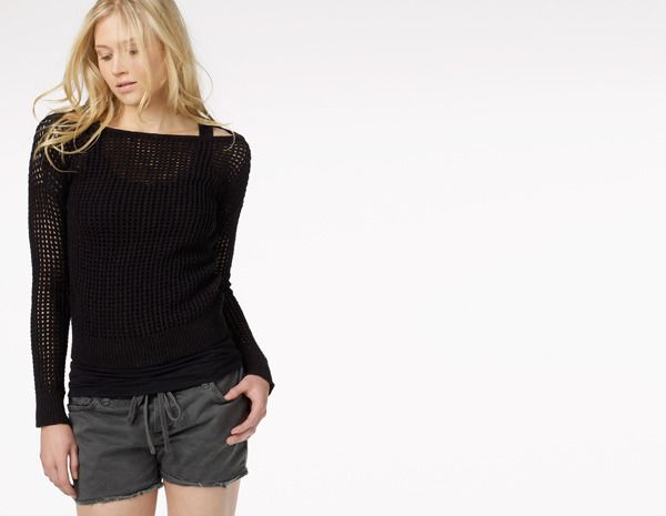 Open Stitch Boatneck Sweater