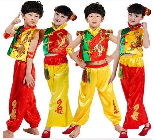 >> Click to Buy << (0123) Children Chinese folk dance clothing boys and gilrs Kung Fu Show New National Dance Dragon drum folk style clothing #Affiliate