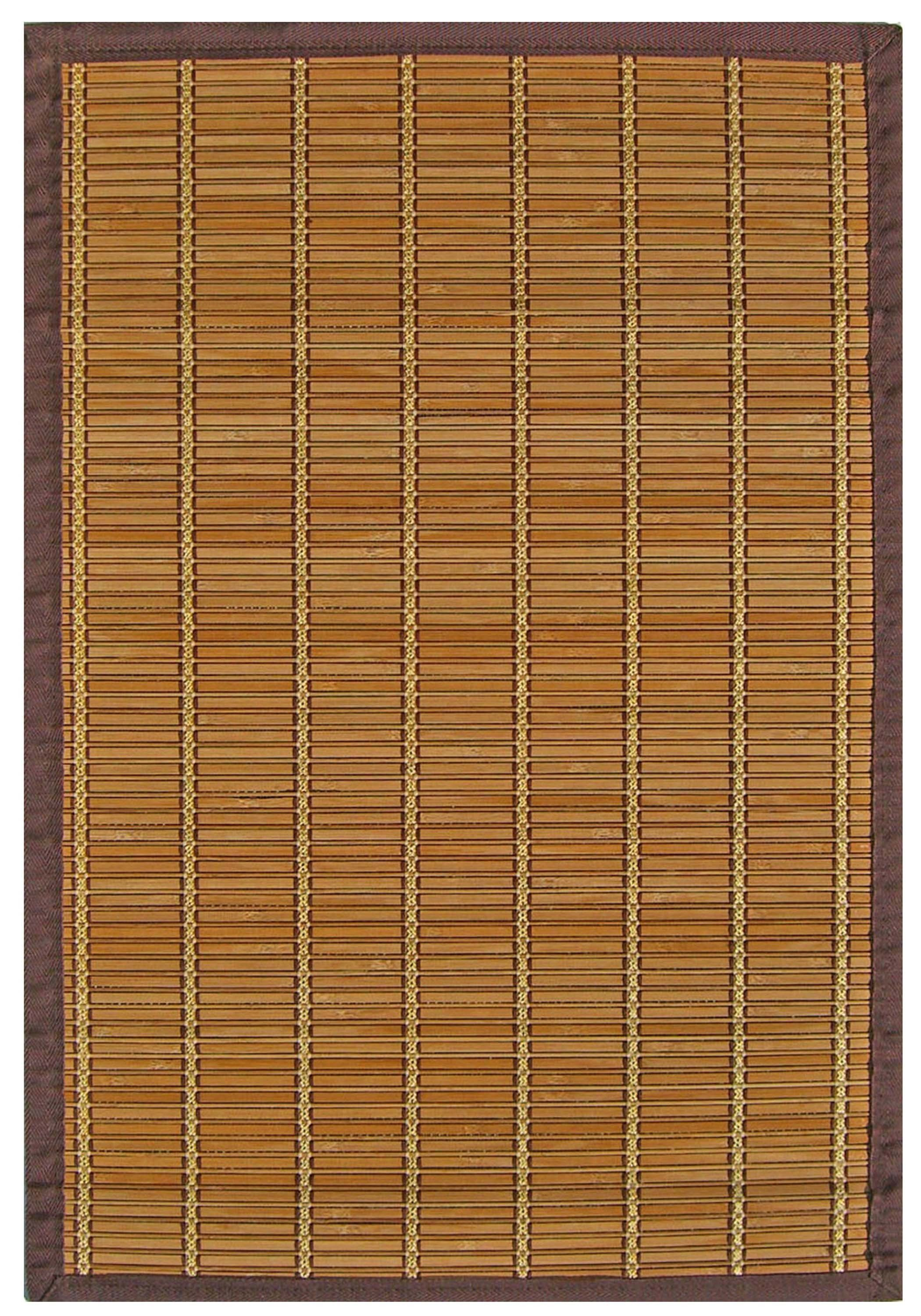 Handmade Bamboo Floor Mat With Brown Border 6x9 5x8