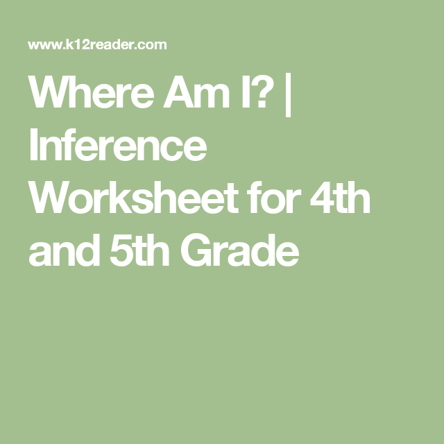 Where Am I Inference Worksheet For 4th And 5th Grade Teaching