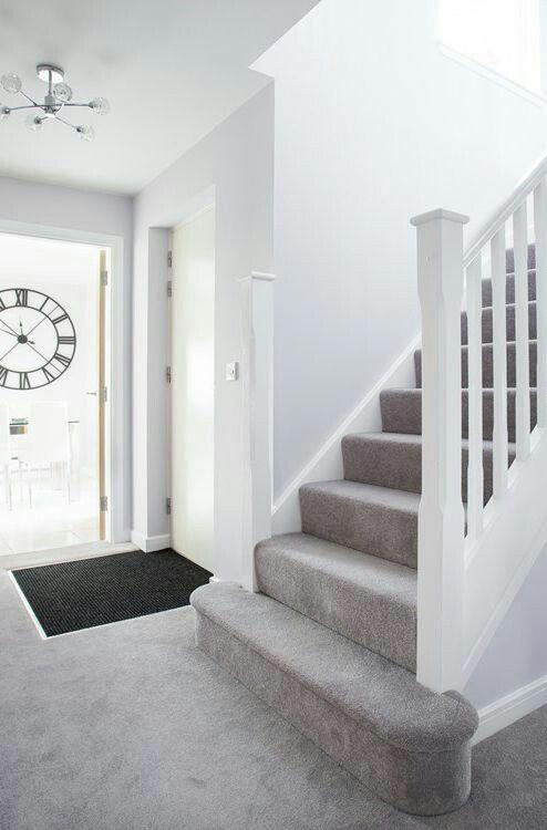 Good Photo Light Grey Carpet Tips In 2020 Light Gray Carpet   White Stairs With Grey Carpet   Top   Laminate Flooring Carpet   White Staircase   Grey Stripe   Dark Grey
