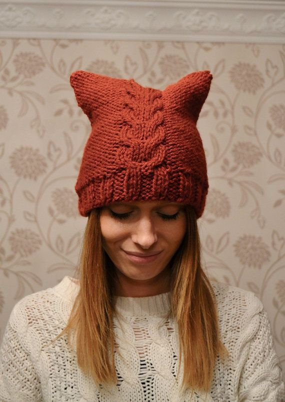 Rust Cat Hat Womens Chunky Knit Beanie | Pinterest | Cable, Gato y ...