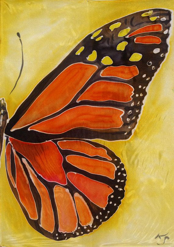 Monarch Butterfly Wing Original Silk Painting By