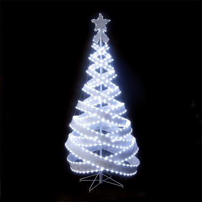 120cm/4ft Outdoor & Indoor Silver 456 LED Spiral Tape Pop-up Christmas Tree - 120cm/4ft Outdoor & Indoor Silver 456 LED Spiral Tape Pop-up