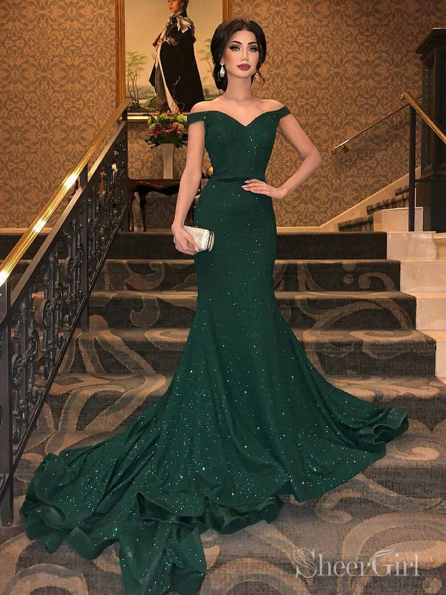 Sparkly Green Mermaid Prom Dresses Chapel Train Junior Dresses Ard2080 Green Prom Dress Dark Green Prom Dresses Mermaid Evening Dresses [ 1200 x 899 Pixel ]