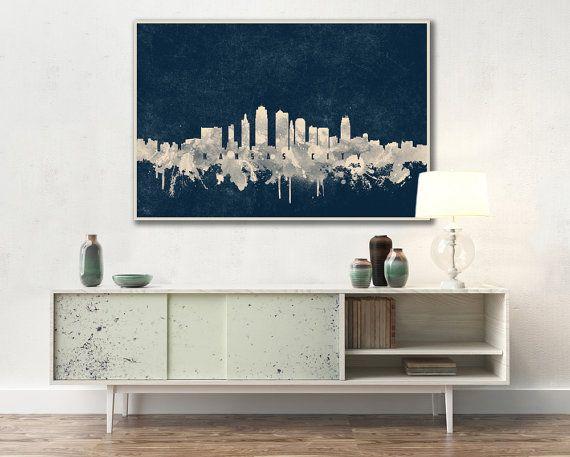 KANSAS CITY skyline, Kansas City, Canvas, Print, Travel, Art, Home ...