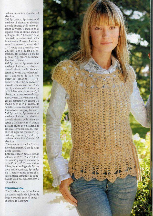 10- Chaleco Escote Redondo-1 | CR0CHET | Pinterest | Escote, Blusas ...