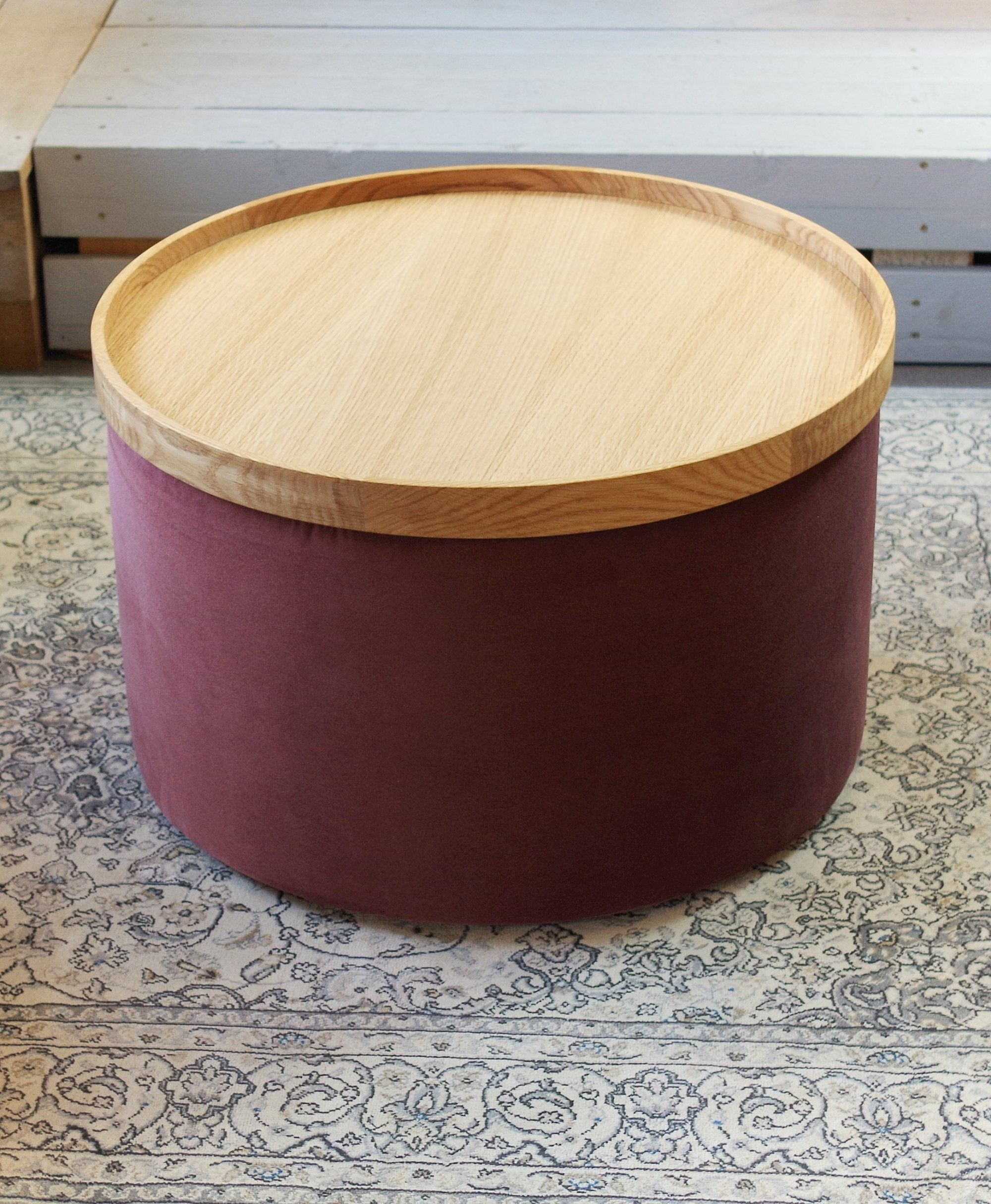 Set Of Big Round Blue Pouf And Wooden Oak Tray Velvet Ottoman Pouf Side Table Floor Pouf Home Decor Pouf Coffee Table Pouf Pouf Coffee Table Coffee Table Pouf Floor Pouf [ jpg ]