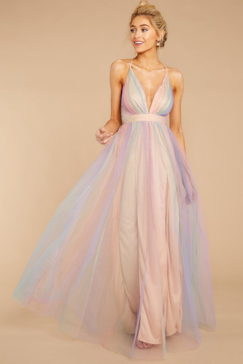 Dreamy Pastel Rainbow Gown Deep V Tulle Maxi Maxi Dress 72 00 Red Dress Red Dress Dresses Shop Red Dress [ 1200 x 800 Pixel ]