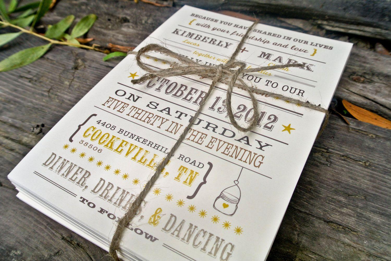 Wedding Invitation Rustic Mason Jar Heart by WideEyesDesign, $2.00 ...