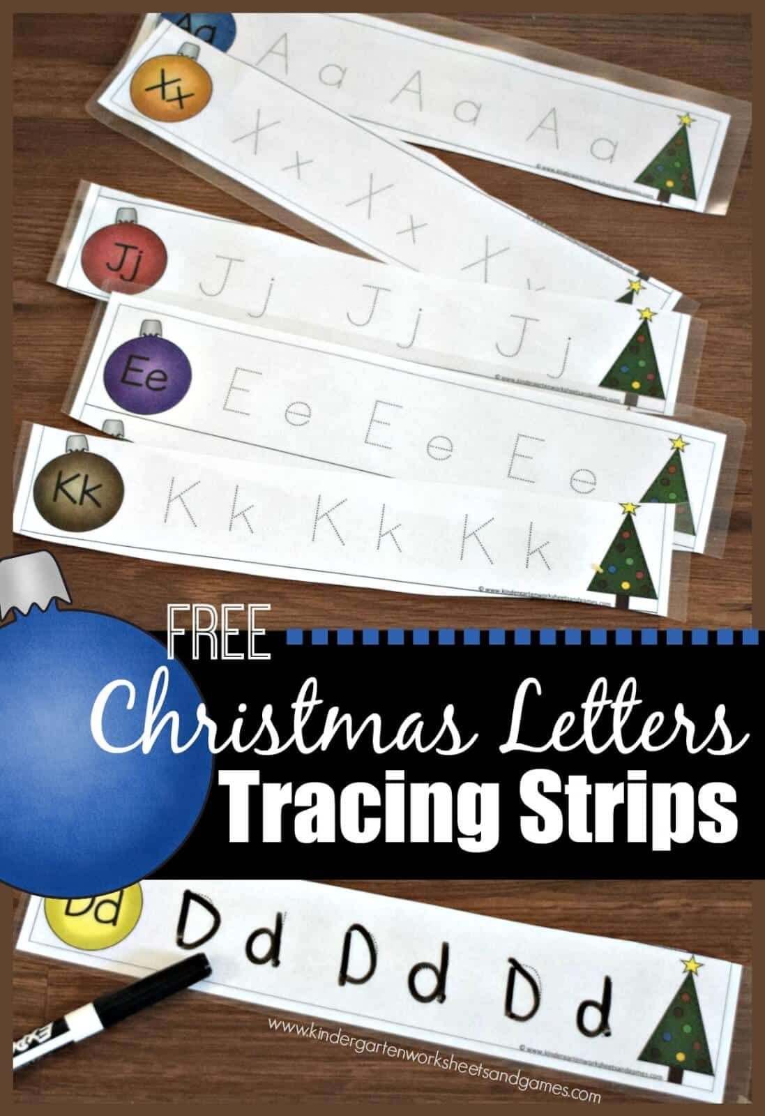 Free Christmas Letter Tracing Strips