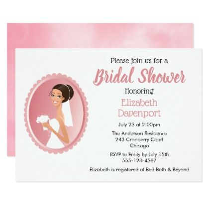 Bride in a Veil Holding Flowers Bridal Shower Card - invitations custom unique diy personalize occasions