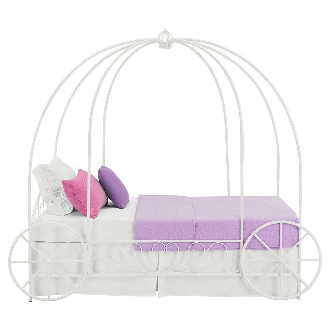 - Carriage Metal Bed - White (Twin) Carriage Bed, Twin Canopy Bed