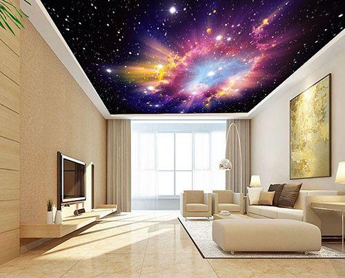Décoration plafond nuage multi couleur et les étoiles dans lunivers