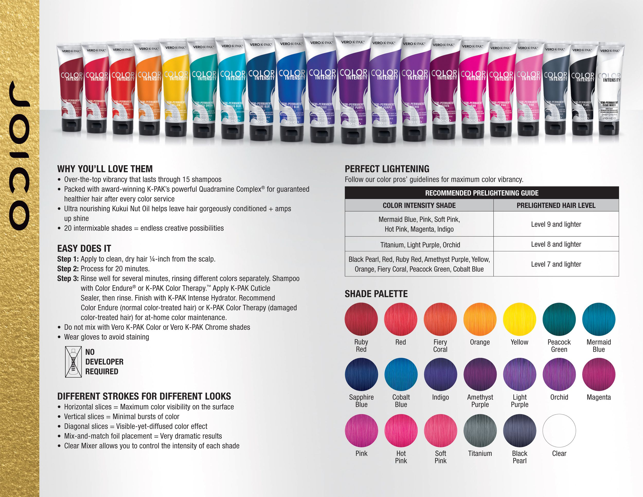 Joico Vero K Pak Color Intensity Fact Sheet