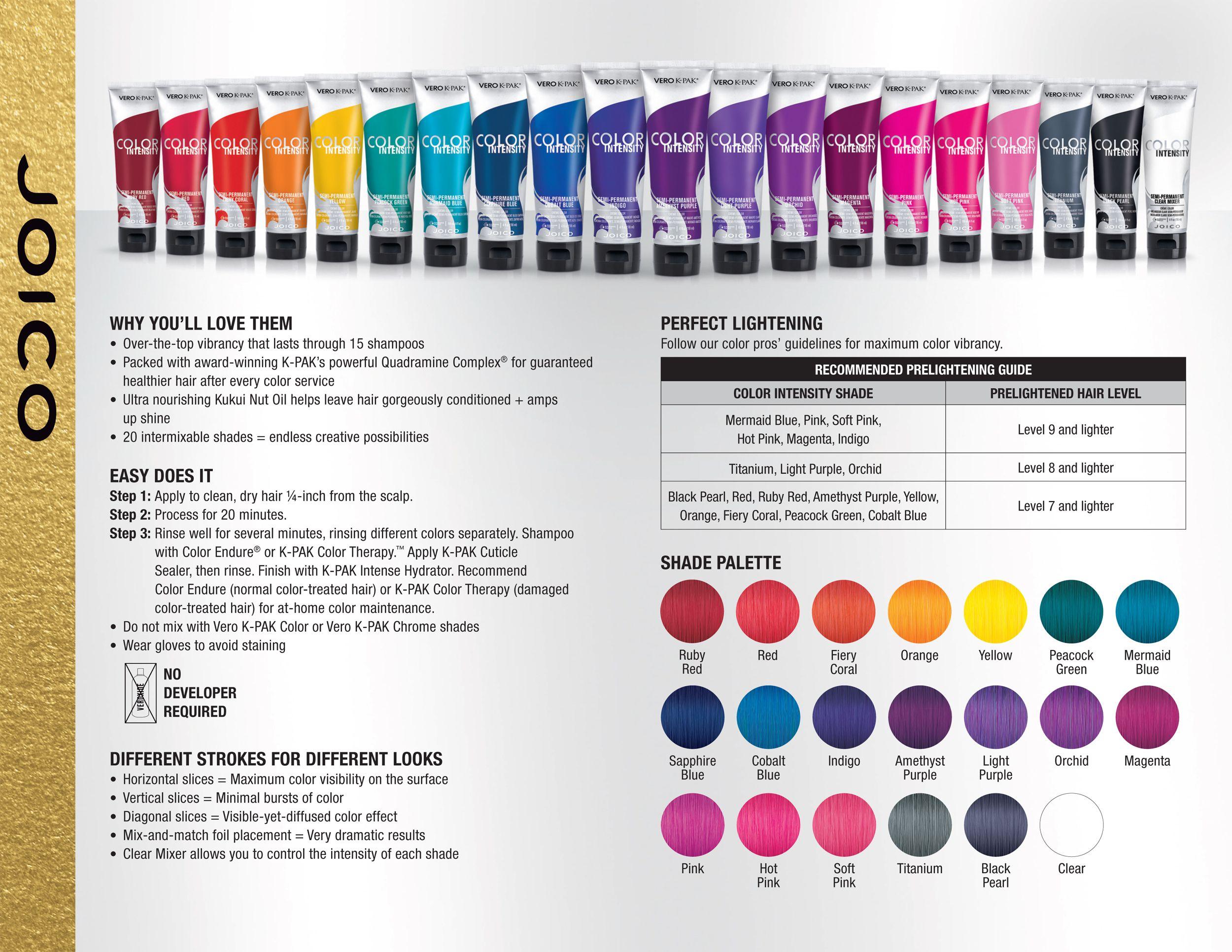 Joico vero k pak color intensity fact sheet color charts