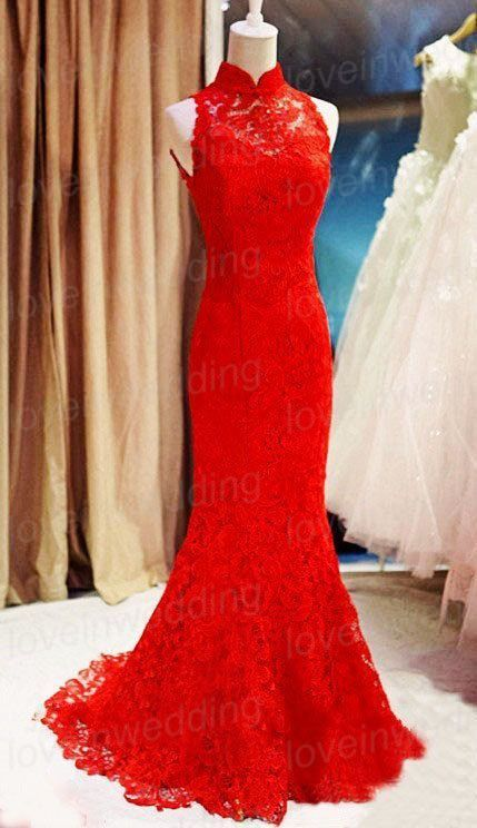 Red Lace Prom Dress,Mermaid Prom Dress,Fashion Prom Dress,Sexy Party ...
