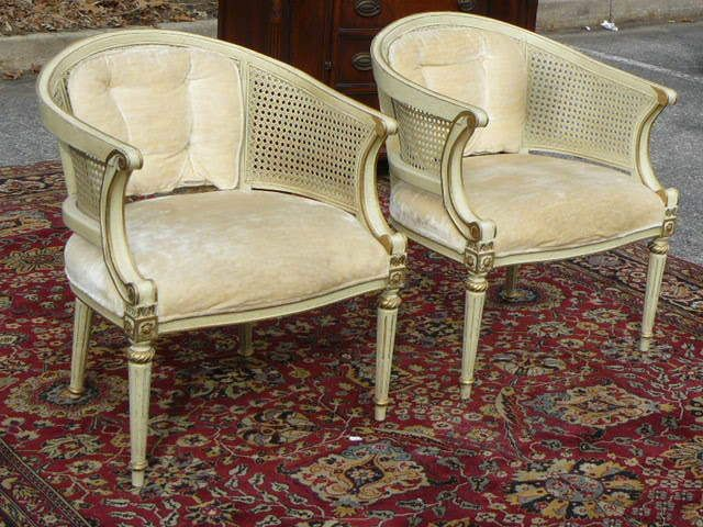 ANTIQUE PAIR BERGERE FRENCH LOUIS XVI CANE ARM CHAIRS Seller Toms River  AUction On Ebay