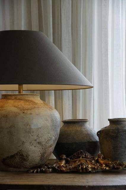 Vessel lamp w black shade | Lamp, Pottery lamp, Rustic