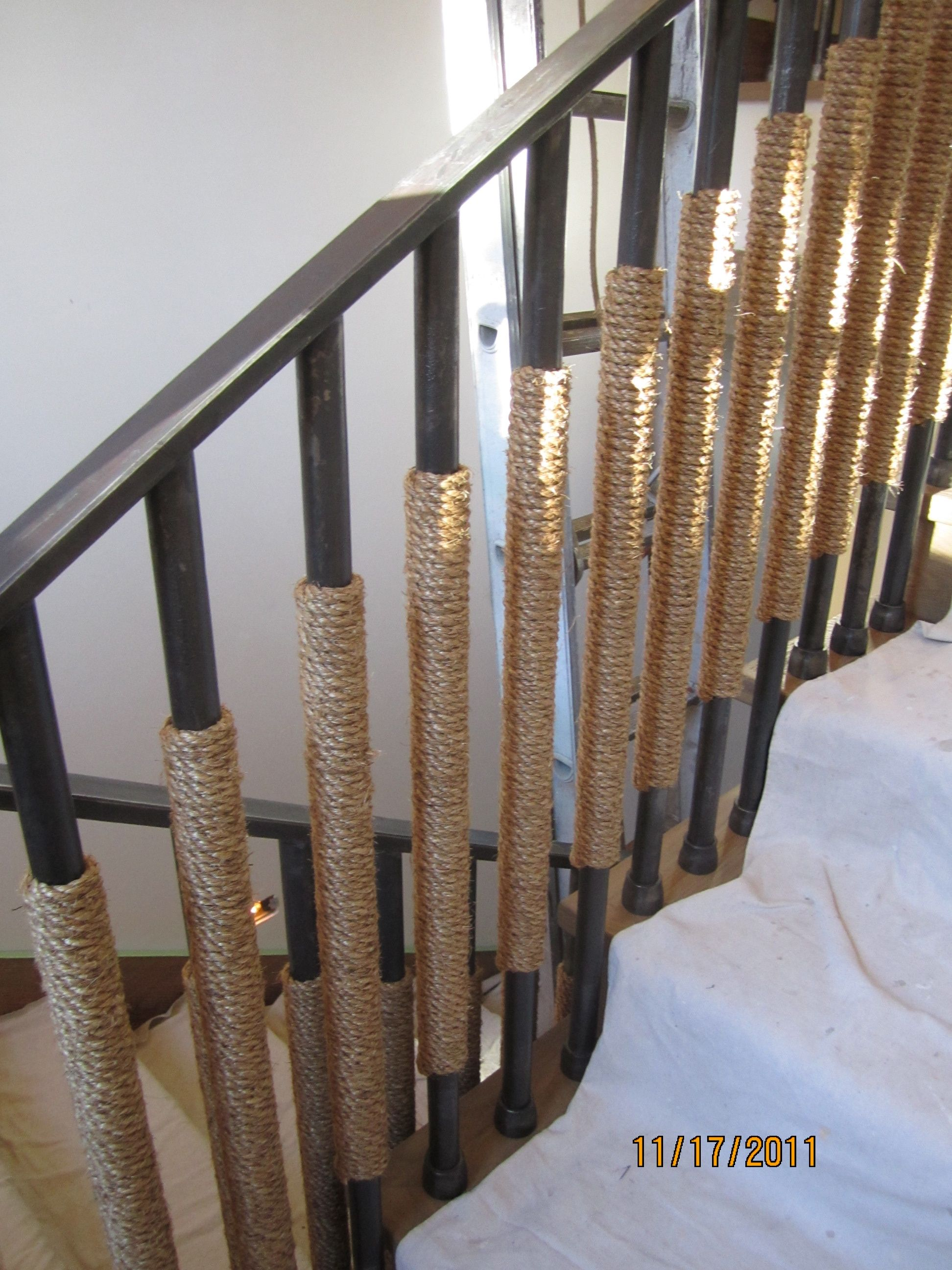 Rope Stair Rail Detail ~ I could do this around the ugly ...